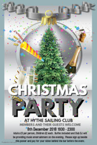 HSC Christmas Party (Pay for tickets on the night) @ Hythe Sailing Club Function Room