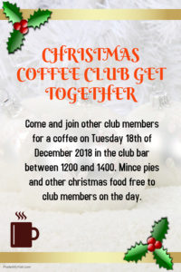 Coffee Club Christmas Get Together @ Hythe Sailing Club Bar